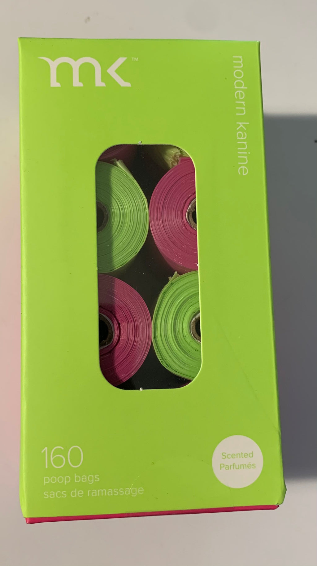 Modern Kanine 8 Rolls of 160count Refill Bags Green & Pink Scented Pack