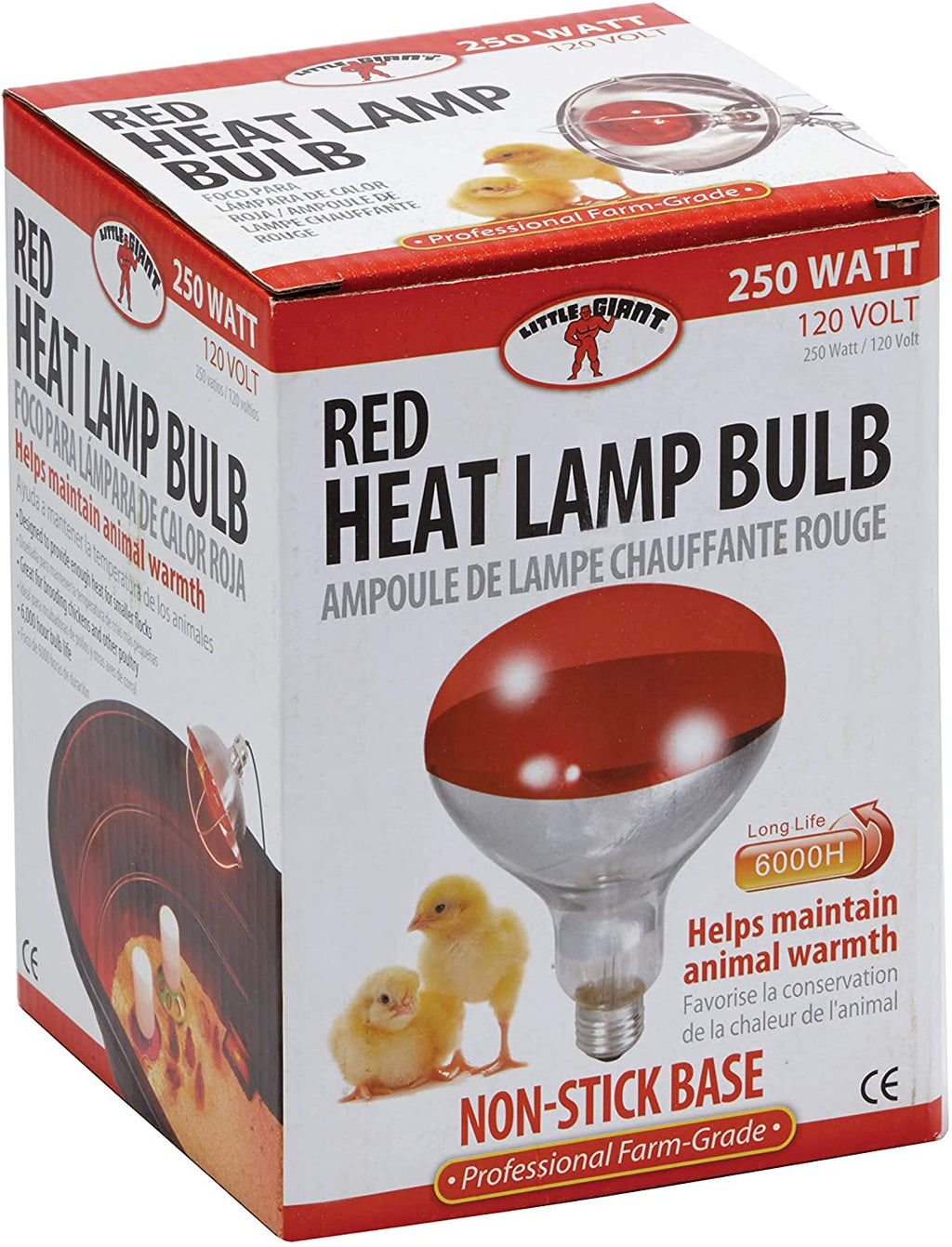 Red 250 Watt Heat Lamp Bulb