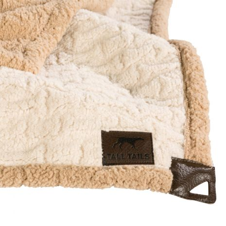"Tall Tails 30"" x 40"" Embossed Bone Cream Micro Sherpa Blanket"
