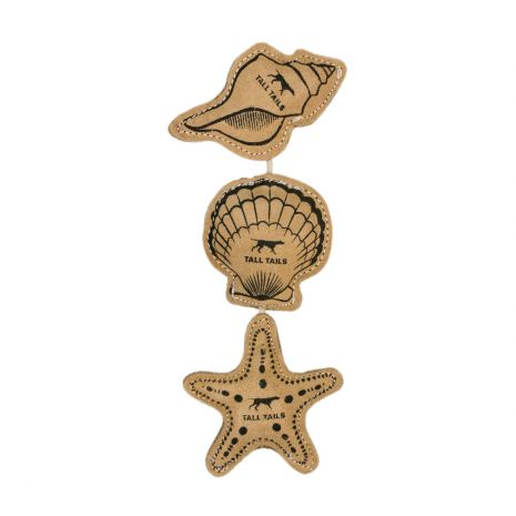 Tall Tails Natural Leather and Wool 3 Pack- Starfish, Seashell & Anchor