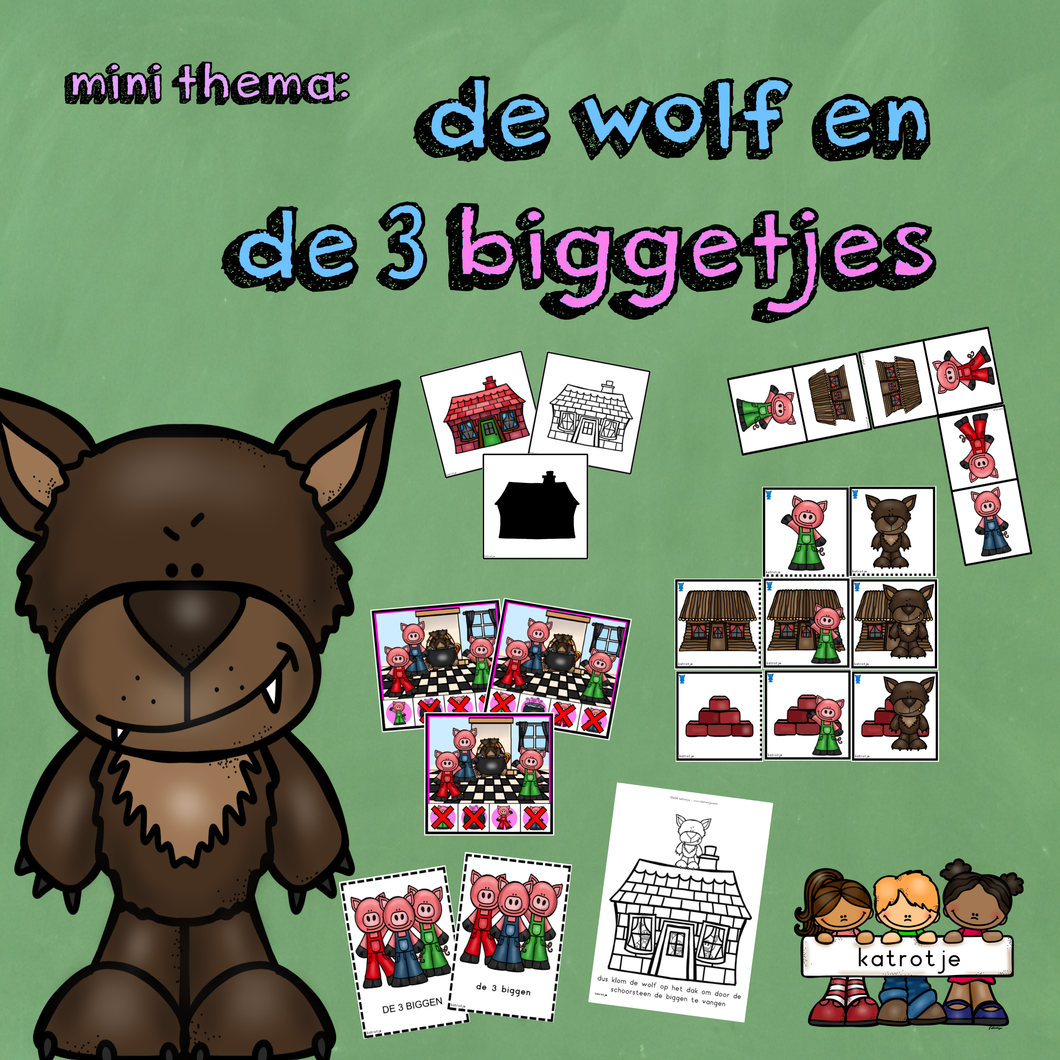 mini thema: de wolf en de 3 biggetjes
