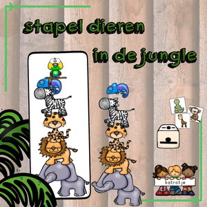 stapel dieren in de jungle