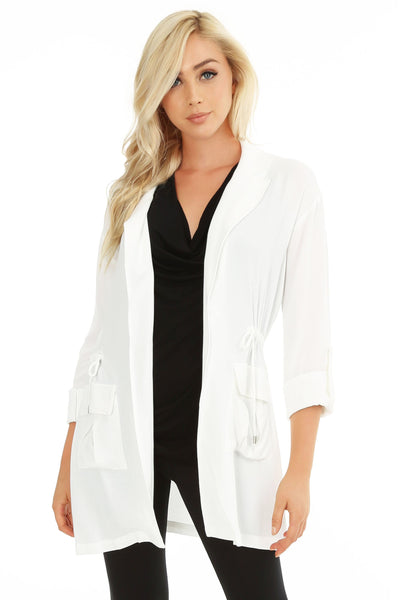 Tab Sleeve Cinched Waist Jacket - bobi Los Angeles