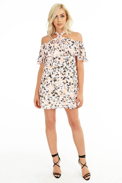 Off Shoulder Floral Print Dress - bobi Los Angeles