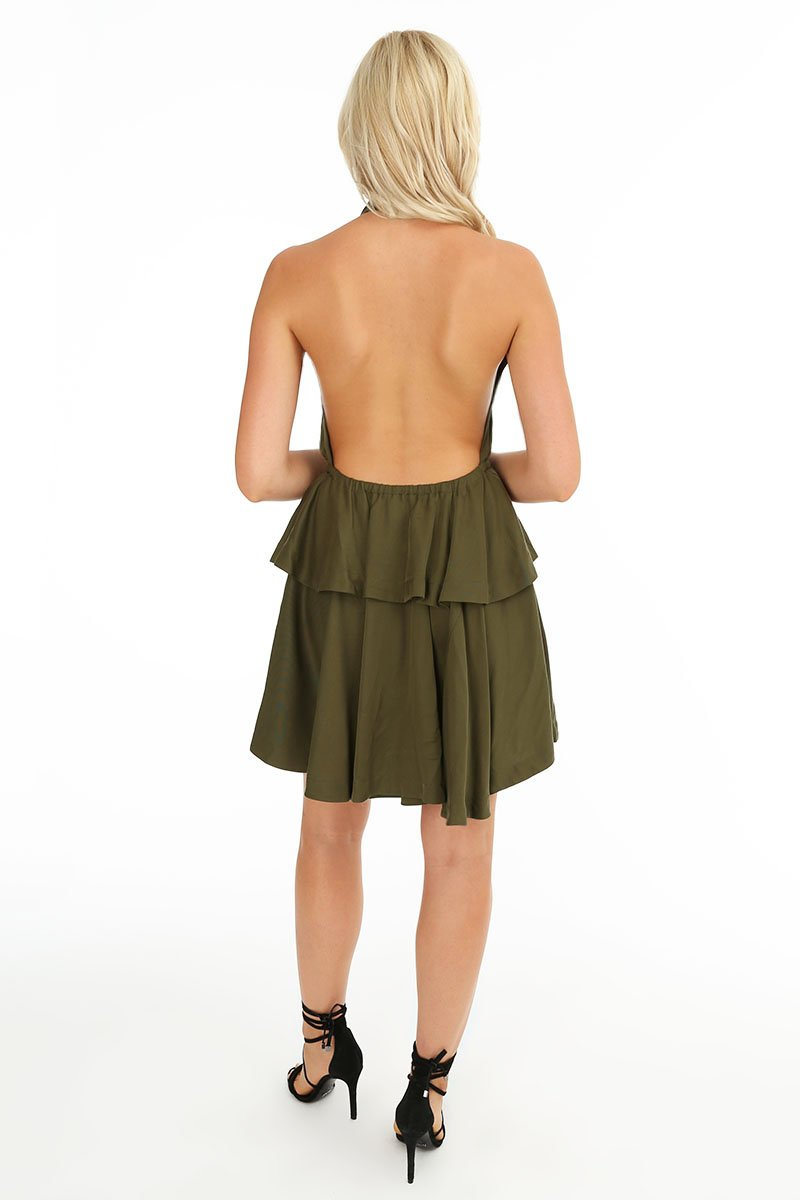 Ruffle Peplum Halter Dress - bobi Los Angeles