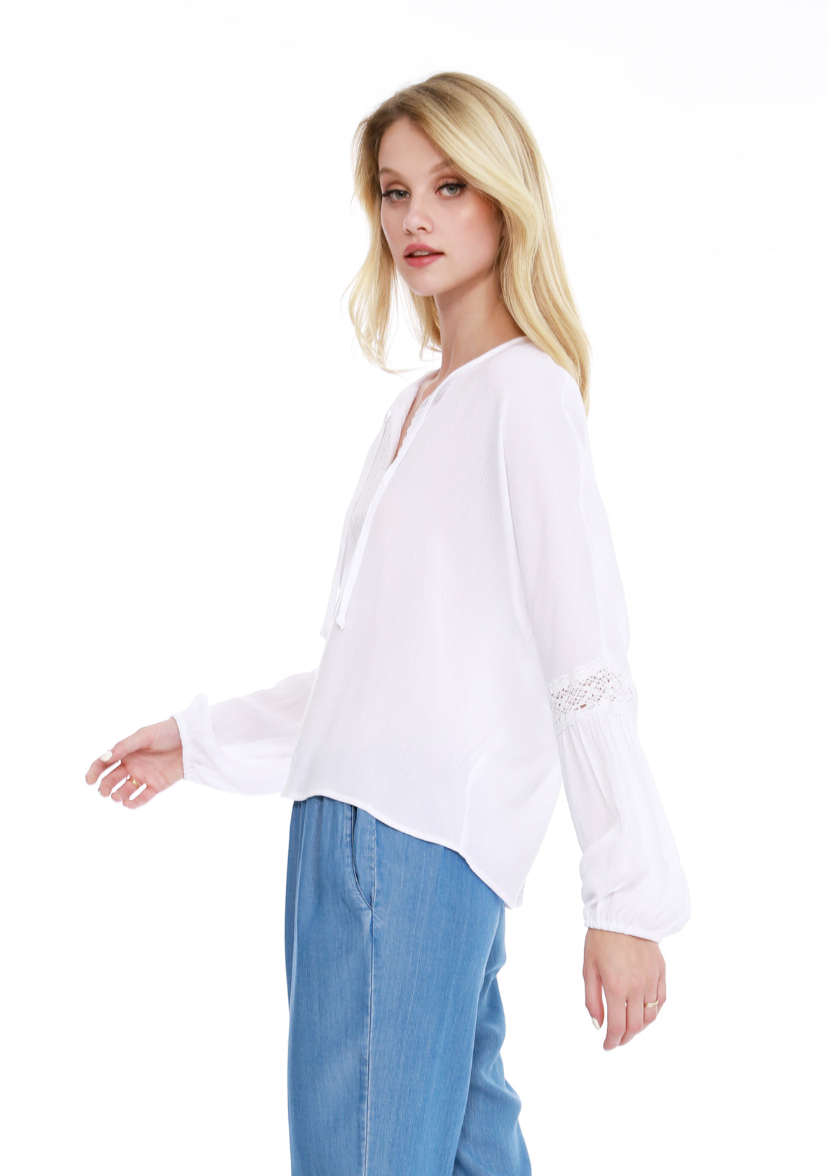 Peasant Lace Blouse - bobi Los Angeles