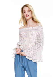 Off Shoulder Bell Sleeve Blouse - bobi Los Angeles