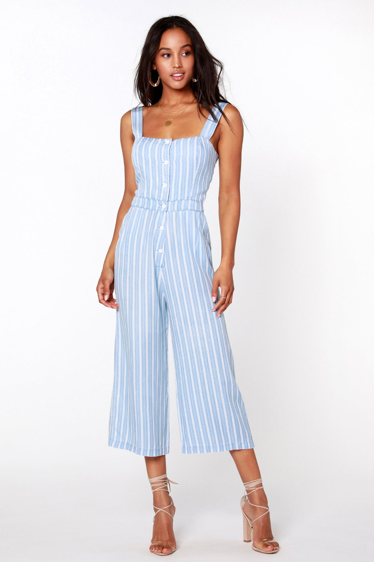 Button Front Cropped Stripe Jumpsuit - bobi Los Angeles
