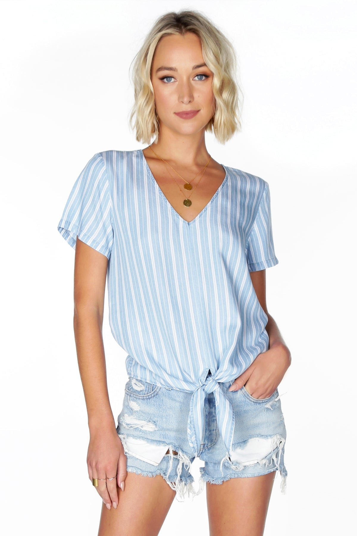 Tie Front Striped Blouse - bobi Los Angeles