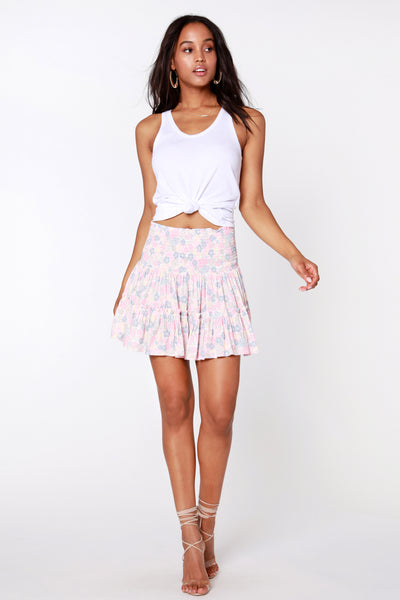 Smocked Waist Mini Skirt - bobi Los Angeles