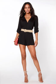 3/4 Sleeve Surplice Romper - bobi Los Angeles