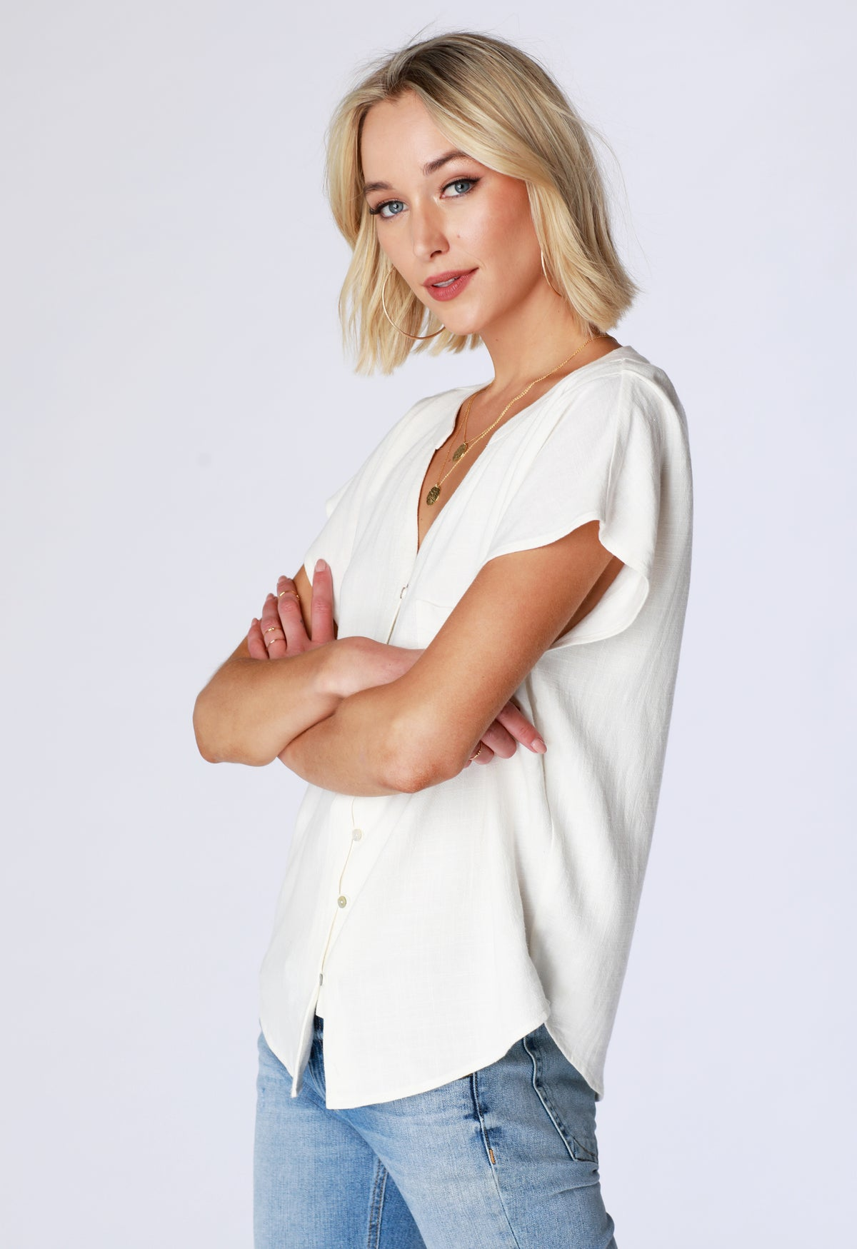 Button-Up Dolman Shirt - bobi Los Angeles