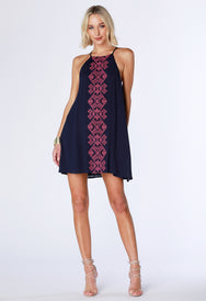 Embroidered Layered Dress - bobi Los Angeles