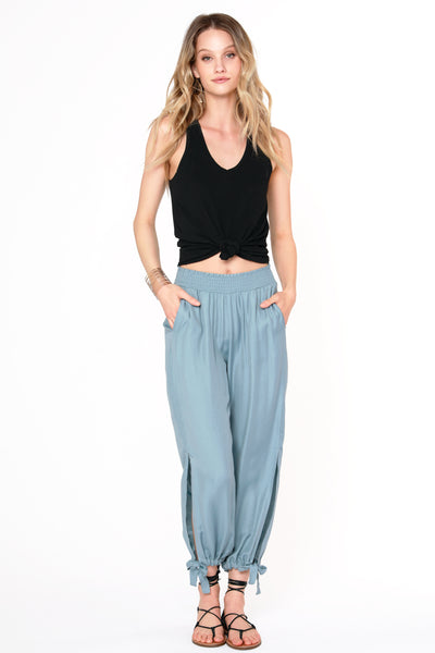Slit Tie Smocked Pants