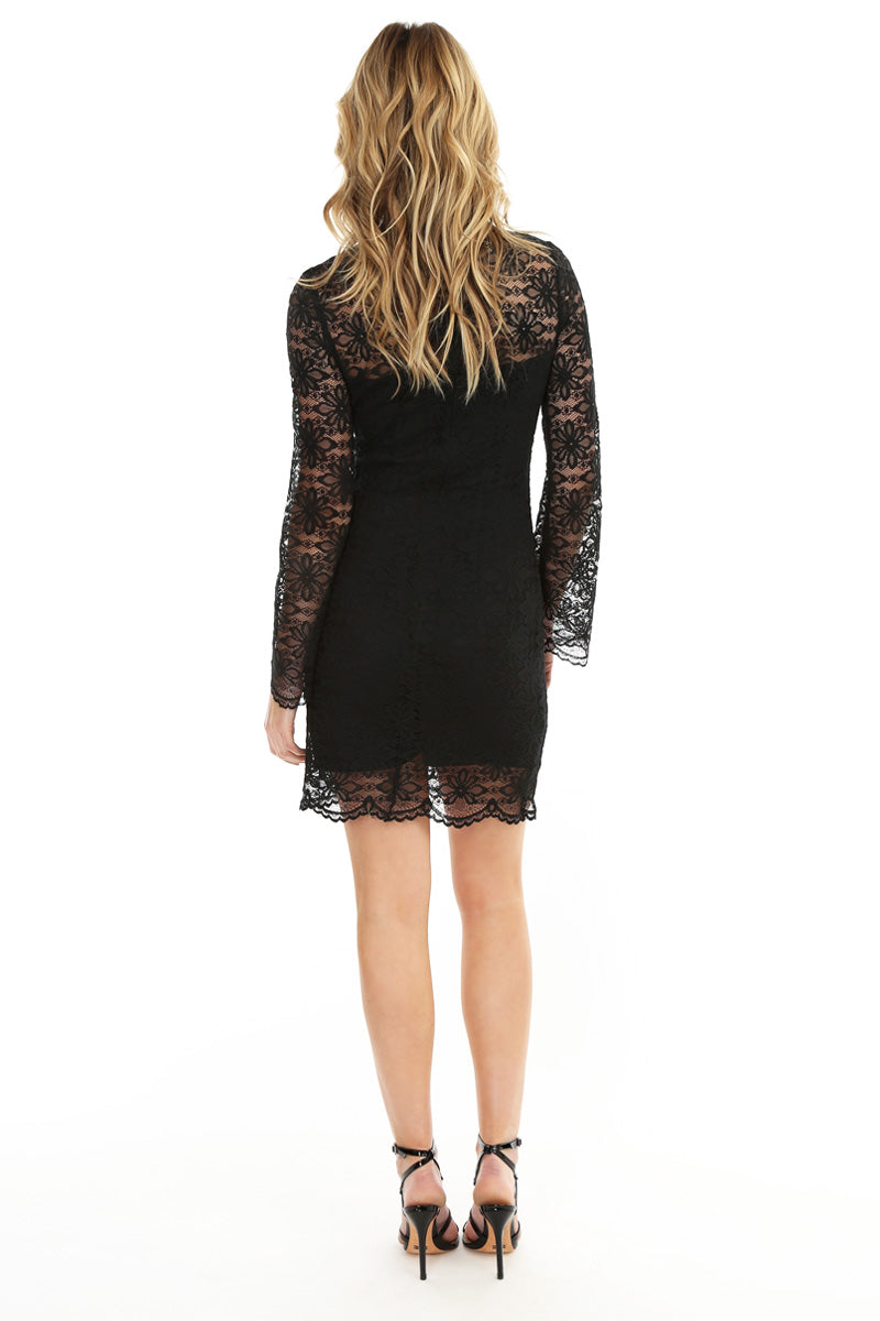 Lace Overlay Bell Sleeve Dress - bobi Los Angeles