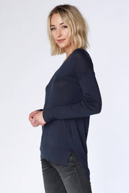 V-Neck Rib Mix Sweater - bobi Los Angeles