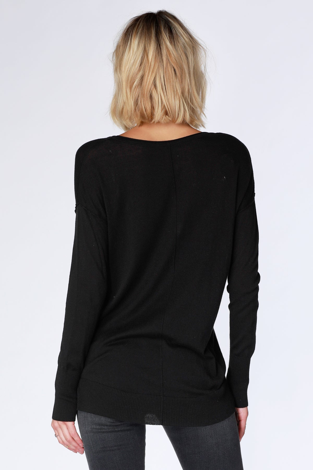 Drop Sleeve Raw Edge Sweater - bobi Los Angeles