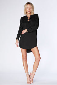 Lace up Shirtdress - bobi Los Angeles