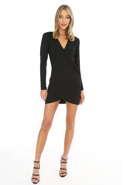 Long Sleeve Faux Wrap Dress - bobi Los Angeles