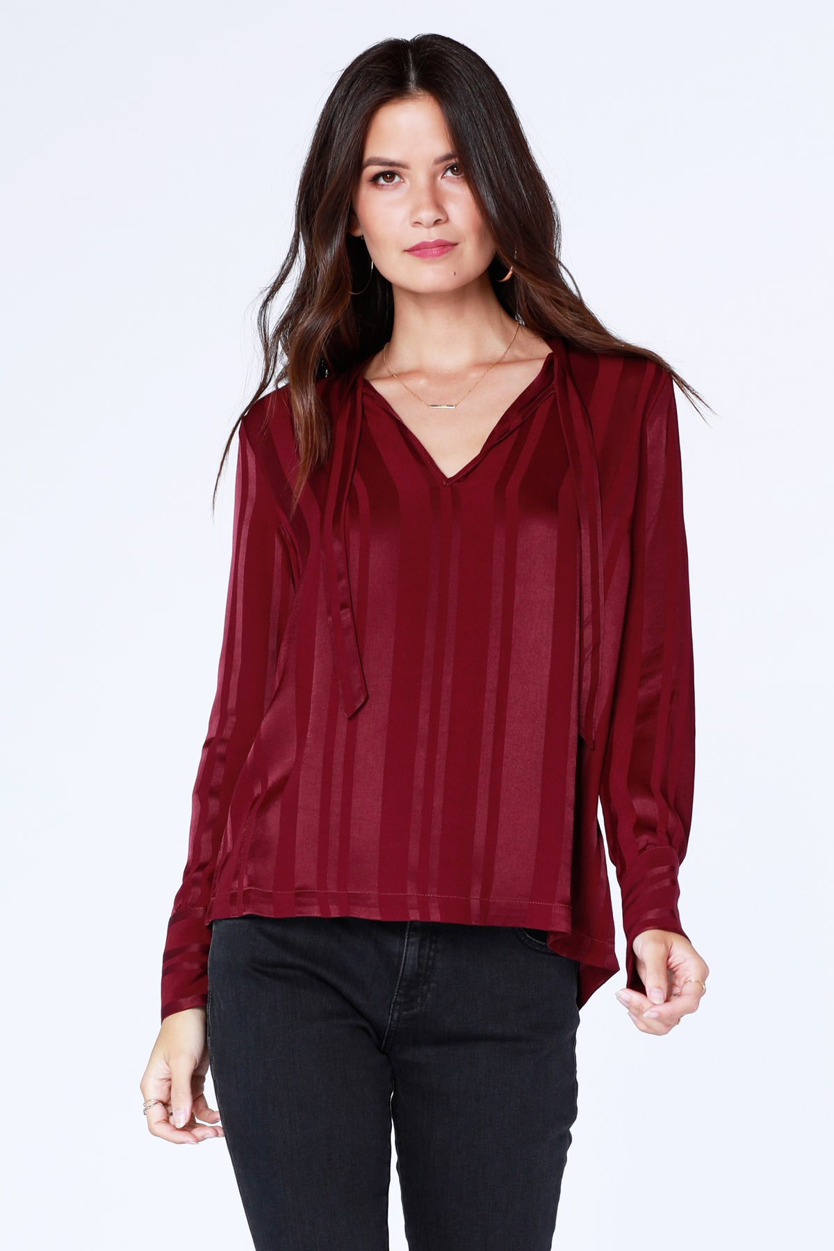 Shadow Stripe Tie Neck Blouse - bobi Los Angeles