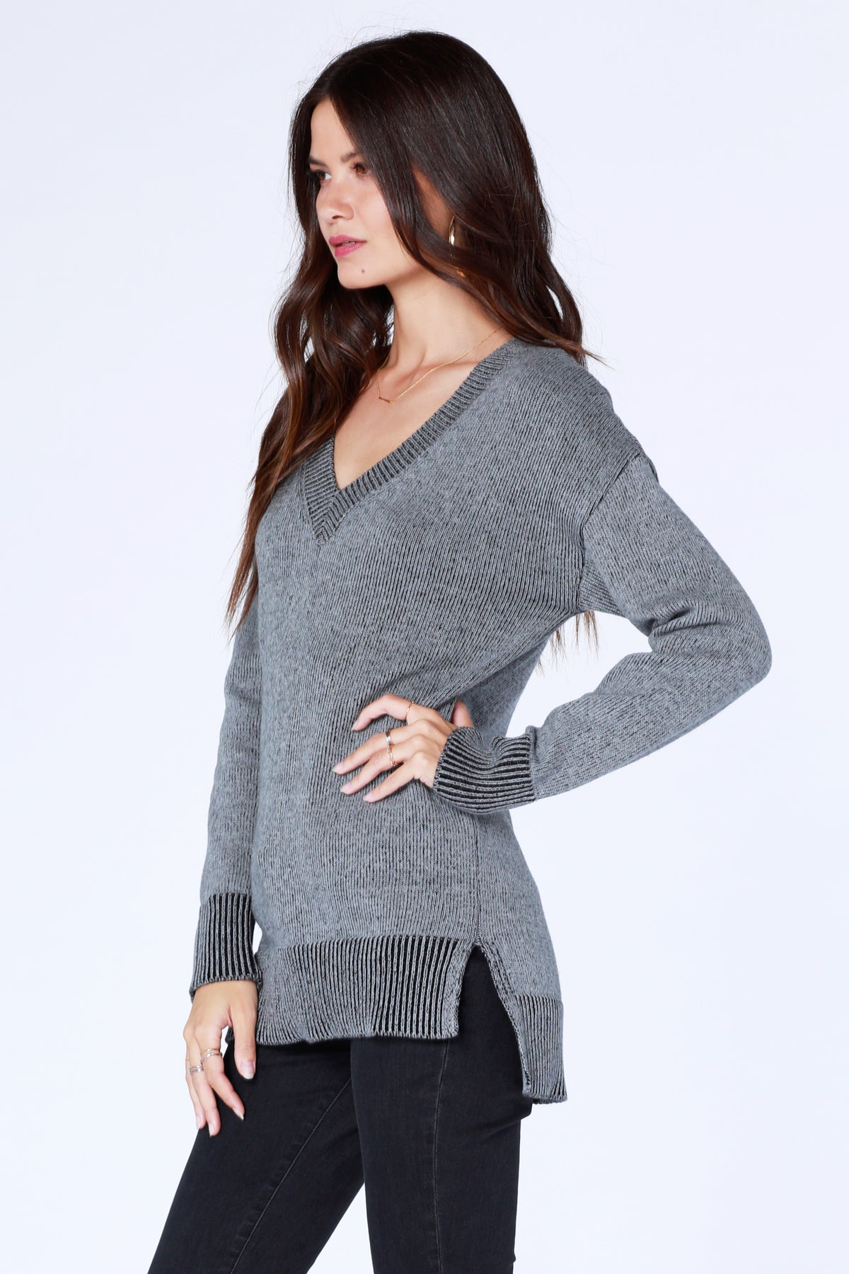 V-Neck Tunic Sweater - bobi Los Angeles