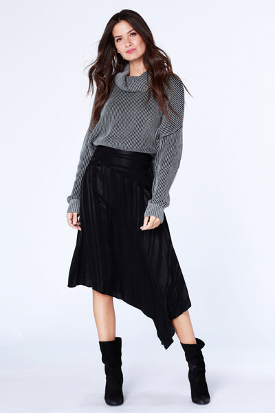 Shadow Stripe Asymmetrical Skirt