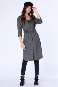 Plaid Trench Coat - bobi Los Angeles