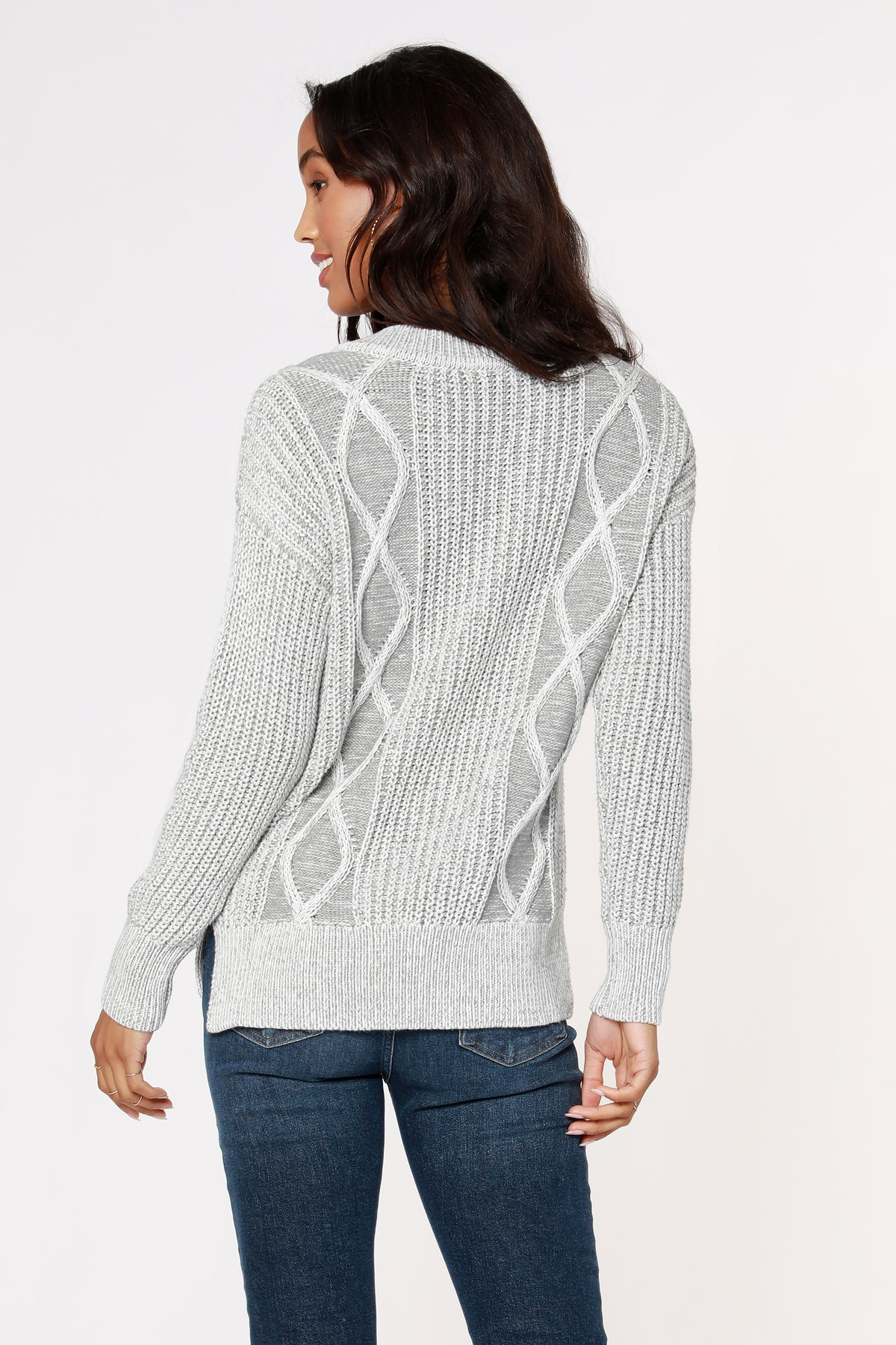 V-Neck Plaited Cable Sweater