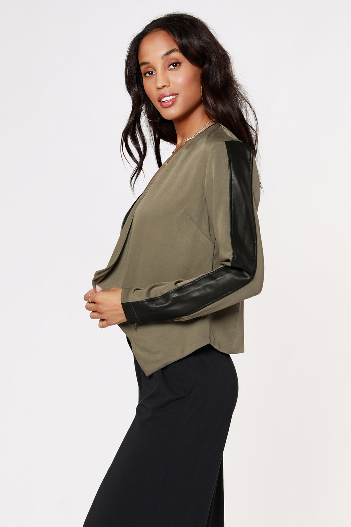 Draped Jacket with Trim