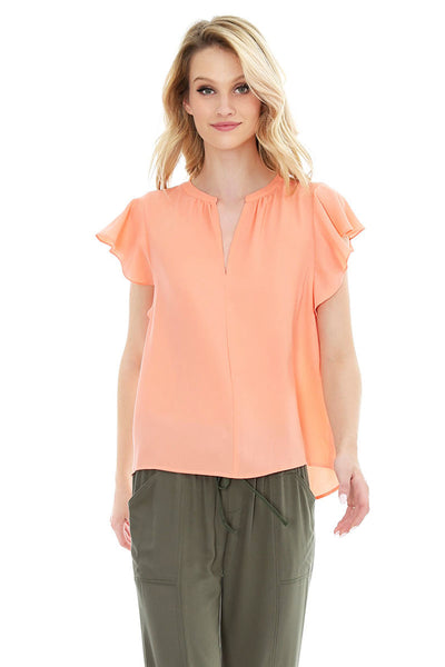Flutter Sleeve Chiffon Blouse - bobi Los Angeles