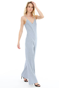 Striped Wide Leg Jumpsuit - bobi Los Angeles
