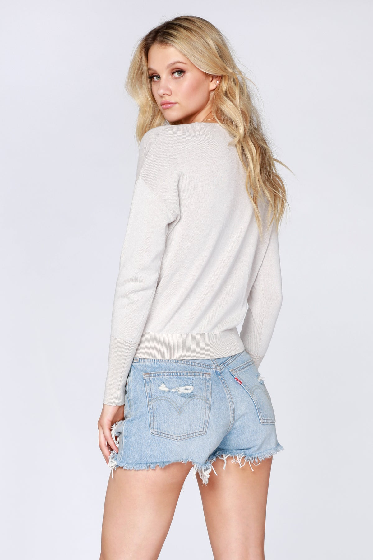 Plaited Cropped Surplice Sweater - bobi Los Angeles