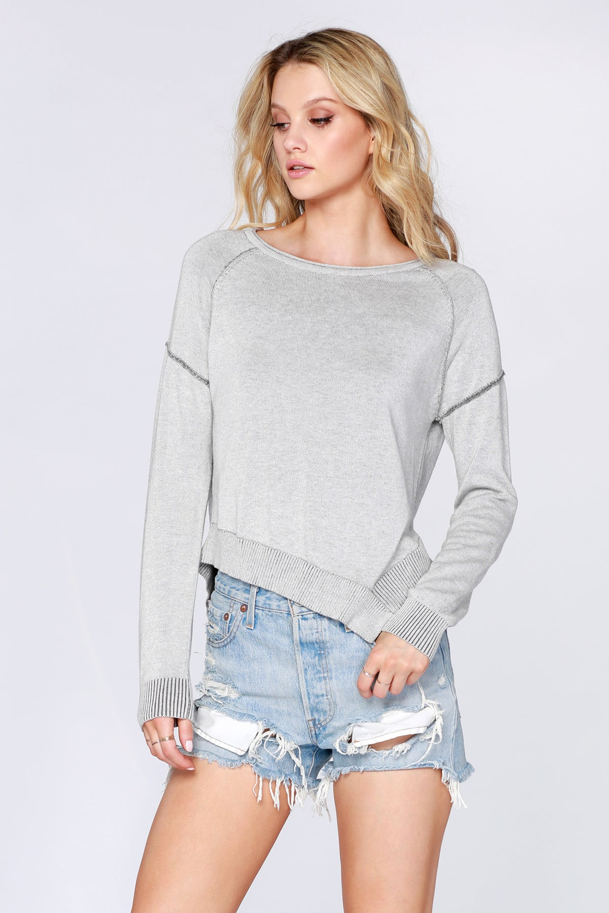 Plaited Asymmetrical Hem Sweater - bobi Los Angeles