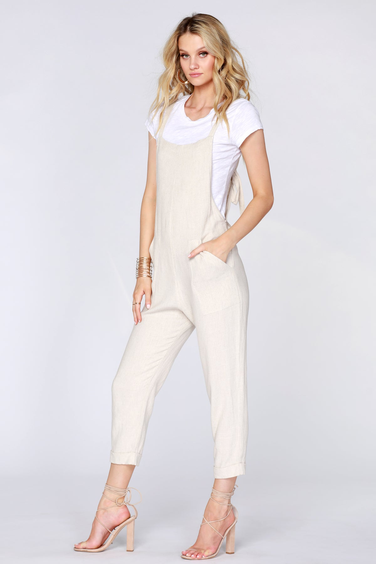 Cropped Linen Overall - bobi Los Angeles