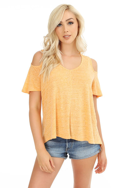 Cold Shoulder Flutter Sleeve Top - bobi Los Angeles