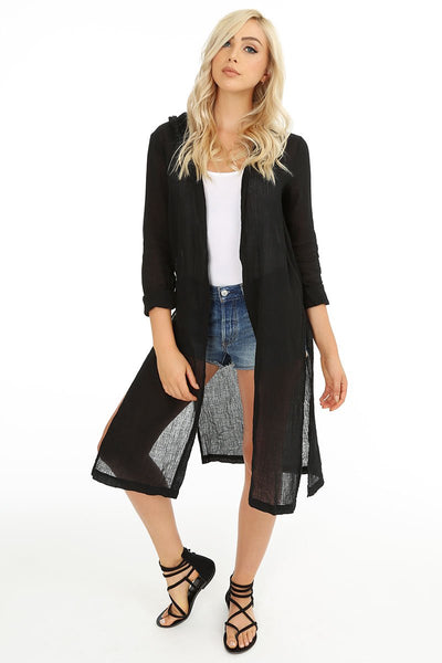 Hooded Duster Cardigan - bobi Los Angeles