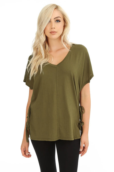 Side Tie Poncho Tee - bobi Los Angeles