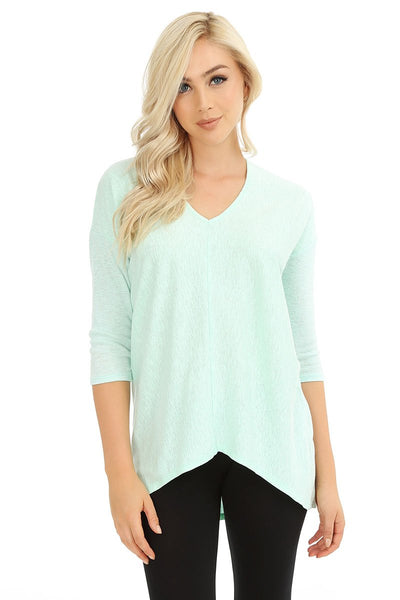 3/4 Sleeve High-Low Top - bobi Los Angeles