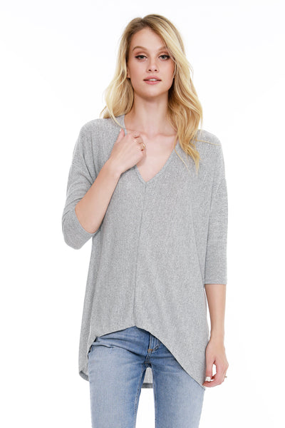98f9214e303 3 4 Sleeve High Low V-Neck - bobi Los Angeles