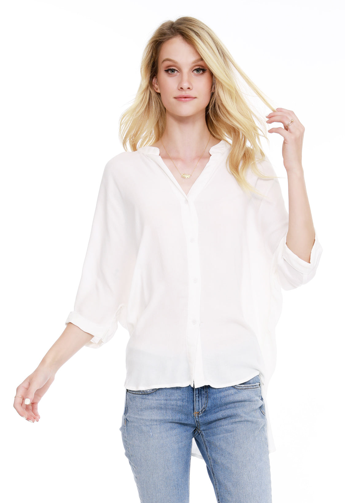 Dolman Button Down Shirt - bobi Los Angeles