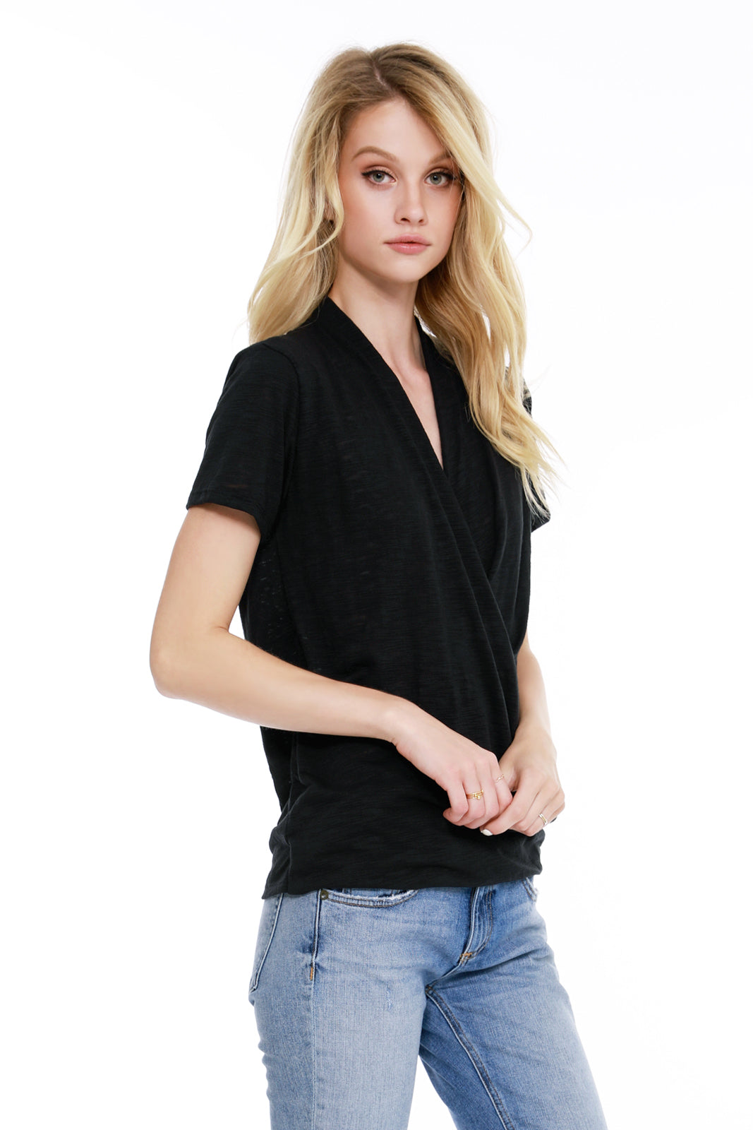 Short Sleeve Surplice Top - bobi Los Angeles