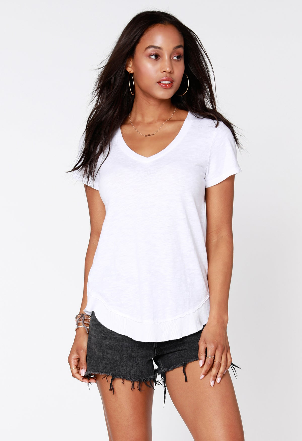 Slub Curved Hem Tee - bobi Los Angeles