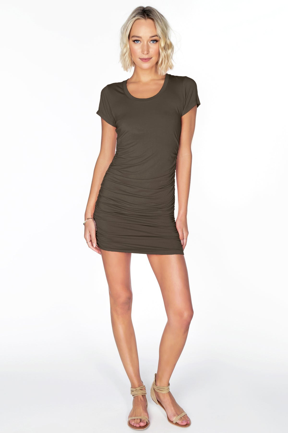 Short Sleeve Shirred Dress