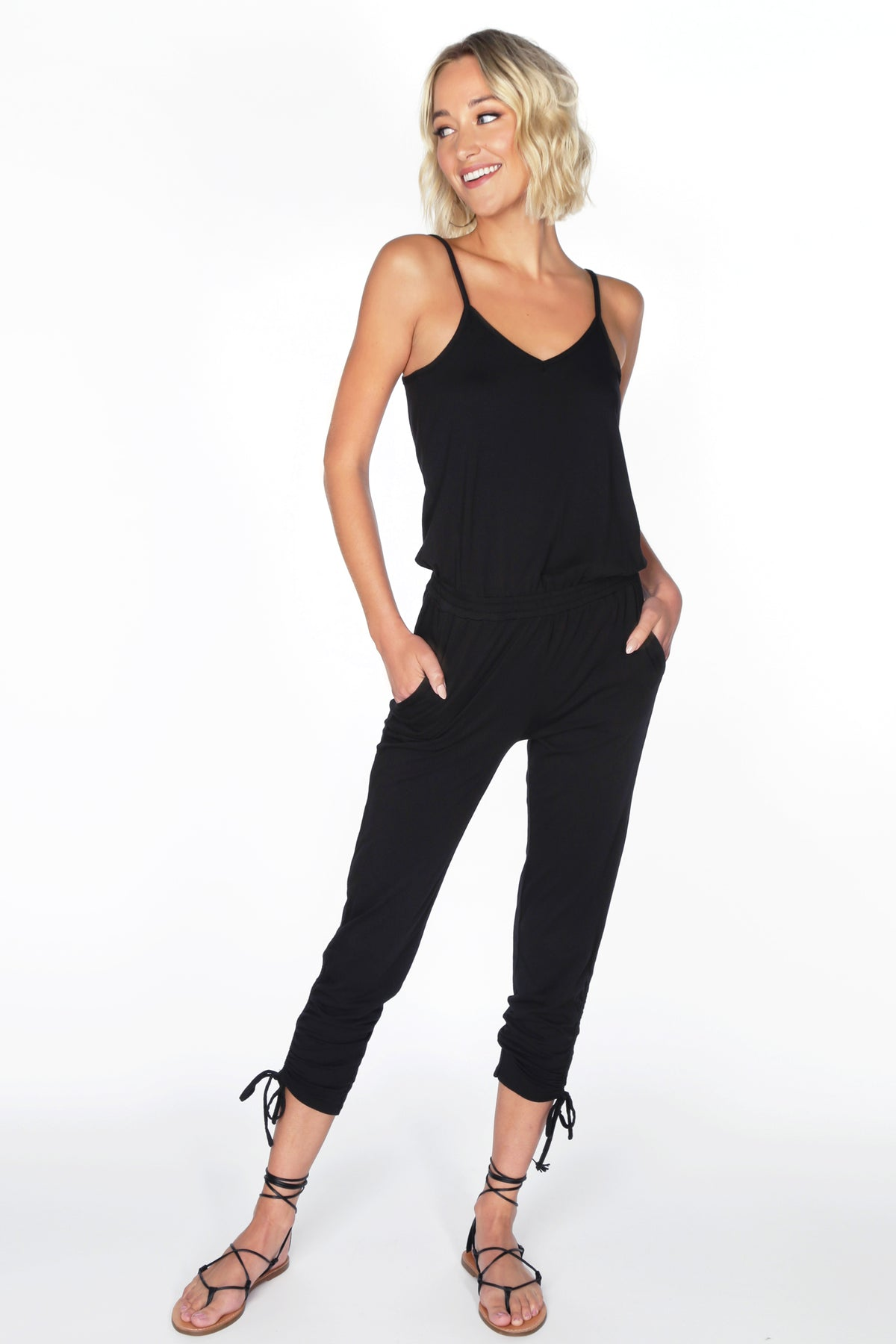 Cami Shirred Leg Jumpsuit - bobi Los Angeles