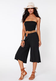 Smocked Strapless Culotte Jumpsuit - bobi Los Angeles
