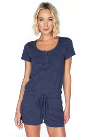 Short Sleeve Henley Romper - bobi Los Angeles