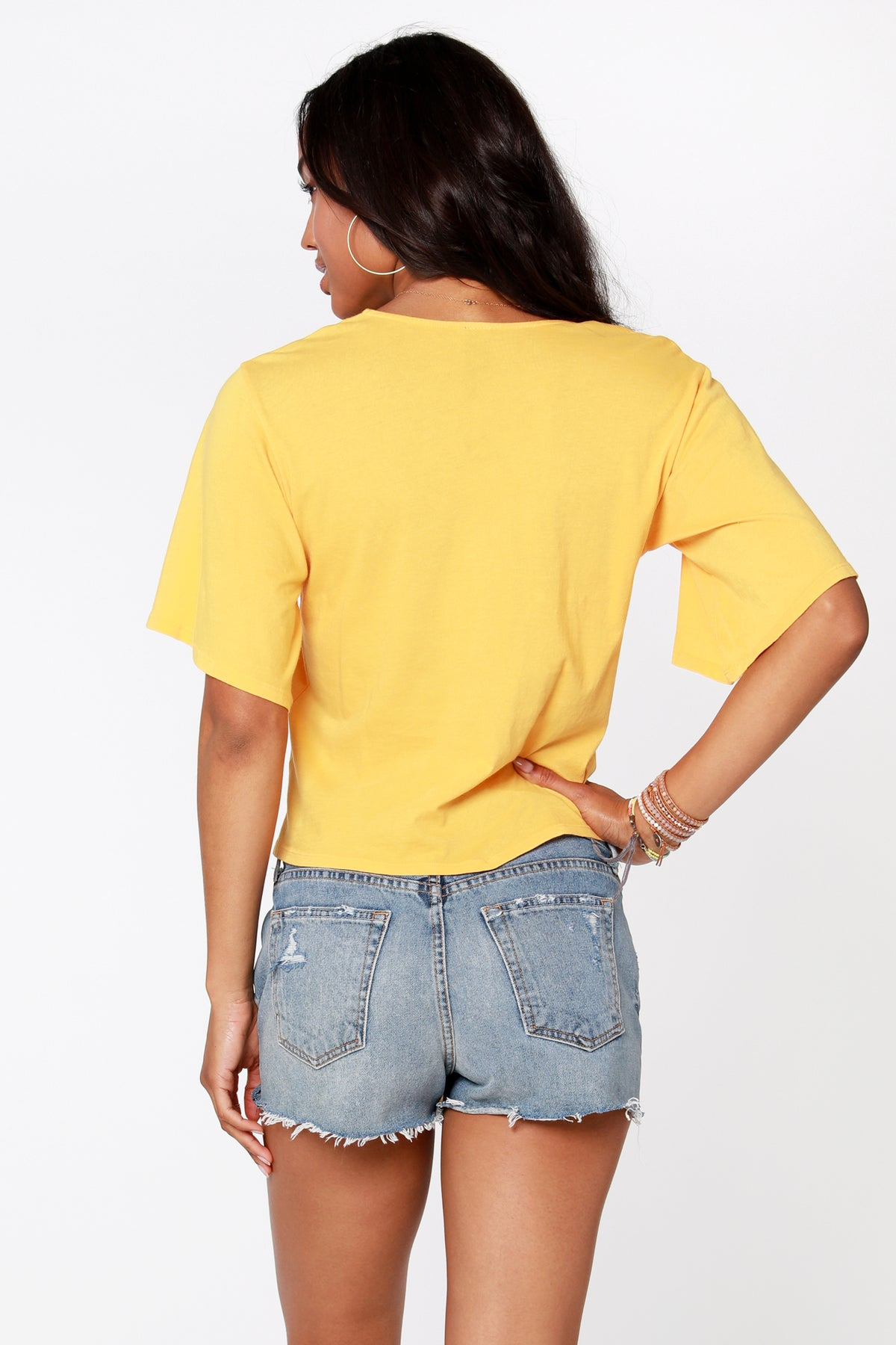 Flutter Sleeve Tie Hem Top - bobi Los Angeles