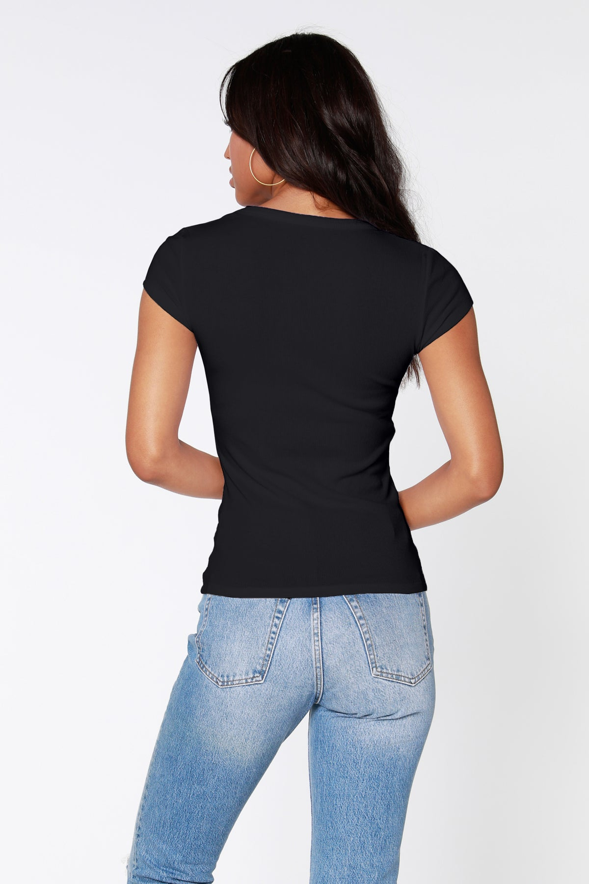 Rib Scoop Neck Tee