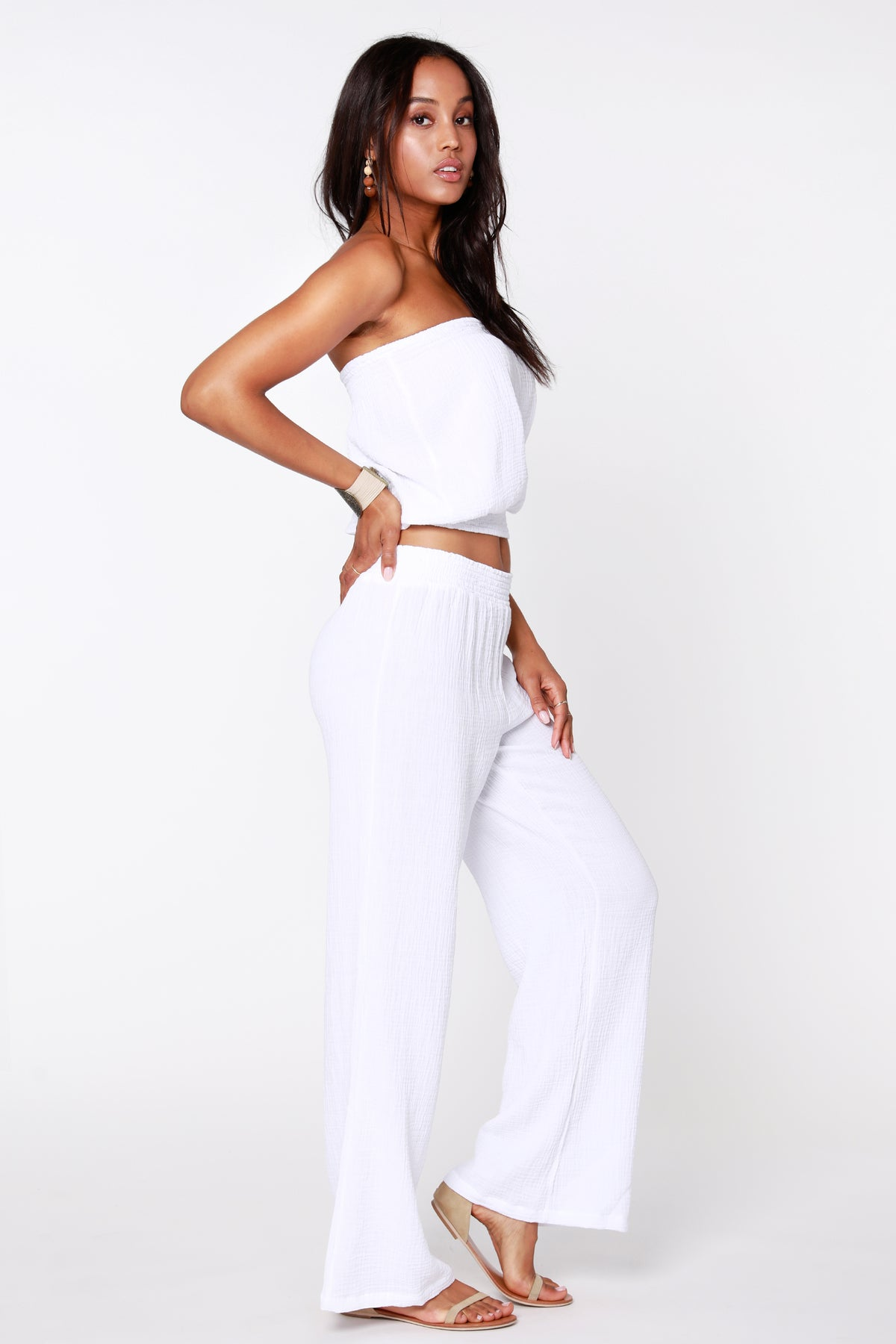 Smocked Waist Wide Leg Pant - bobi Los Angeles