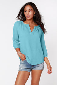 Split Neck Boho Top